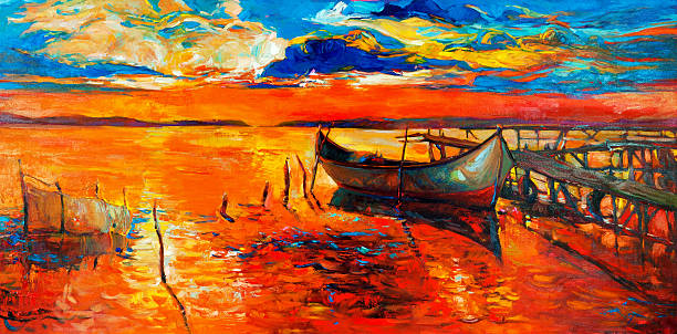 Boats and pier Original oil painting of boats and jetty(pier) on canvas.Sunset over ocean.Modern Impressionism impressionism stock illustrations
