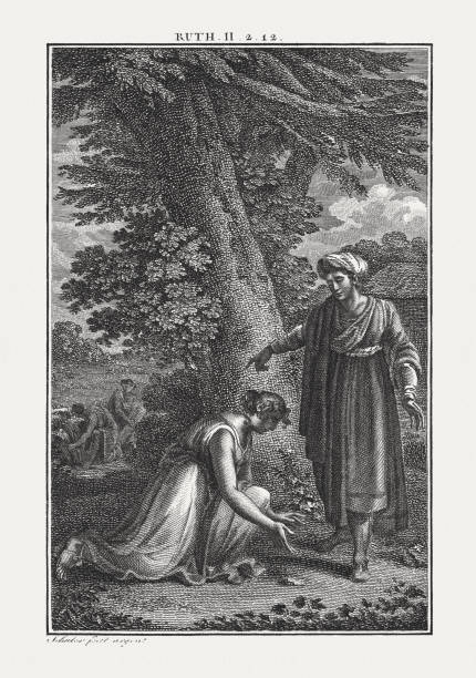 boaz and ruth (ruth 2, 11), copperplate engraving, published c.1850 - ruth stock illustrations