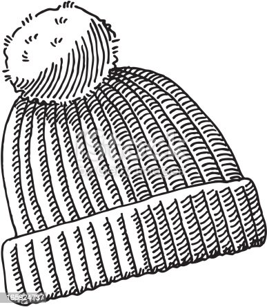 Bobble hat drawing stock vector art more images of black and white 165924737 istock - Bonnet dessin ...