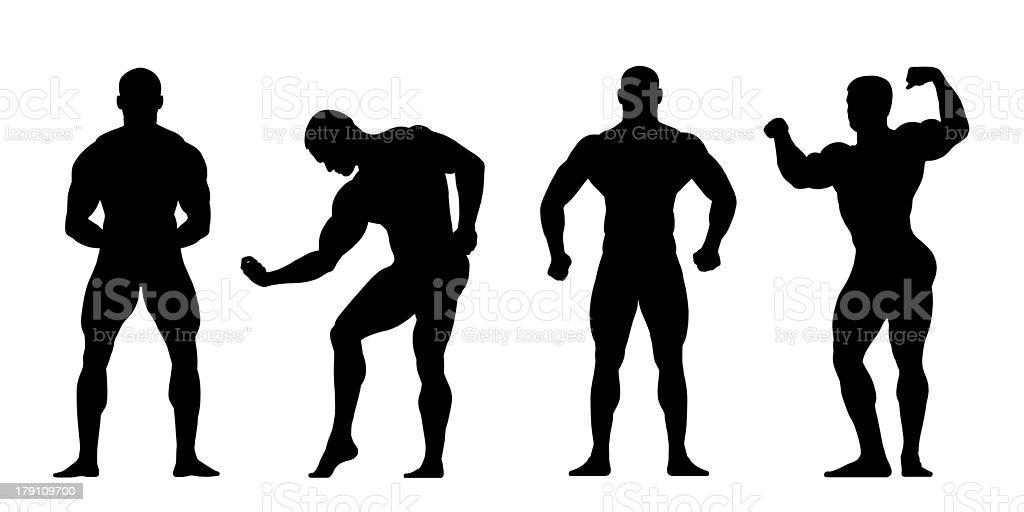 bodybuilders silhouettes vector art illustration