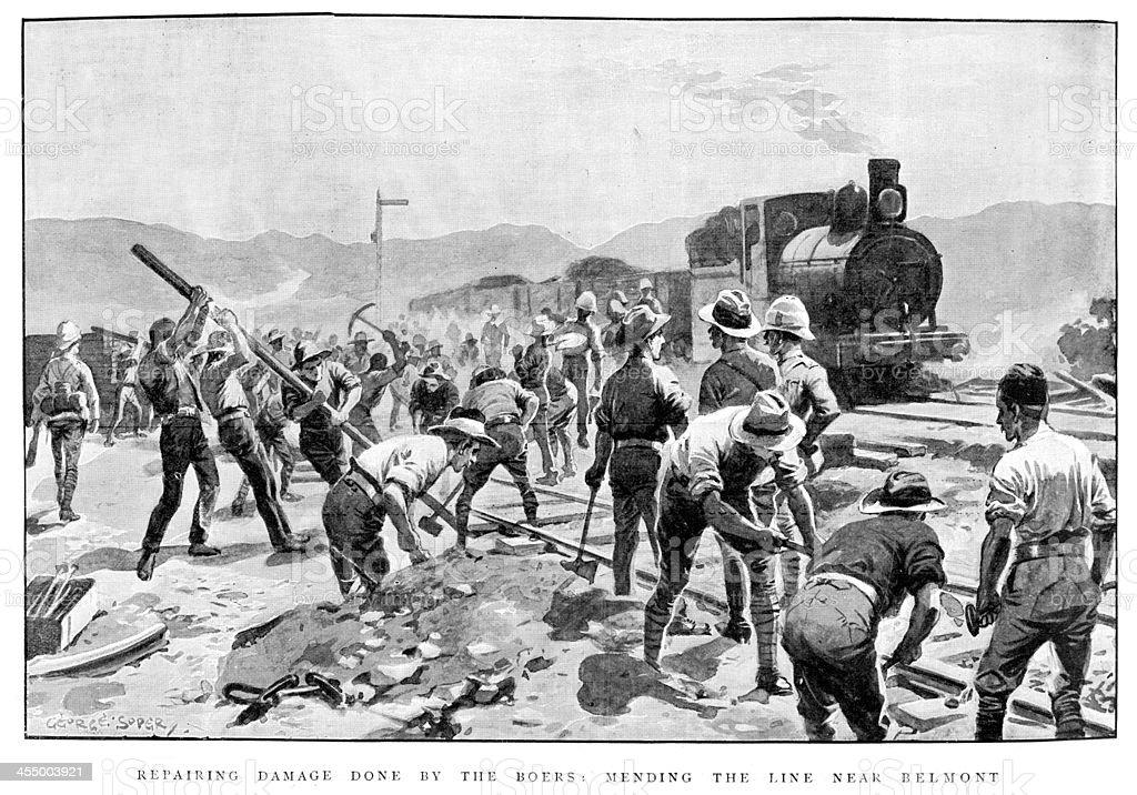 Boer War- Repair the line vector art illustration