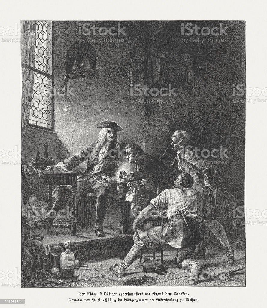 Boettger and August in Meissen, wood engraving, published in 1882 vector art illustration