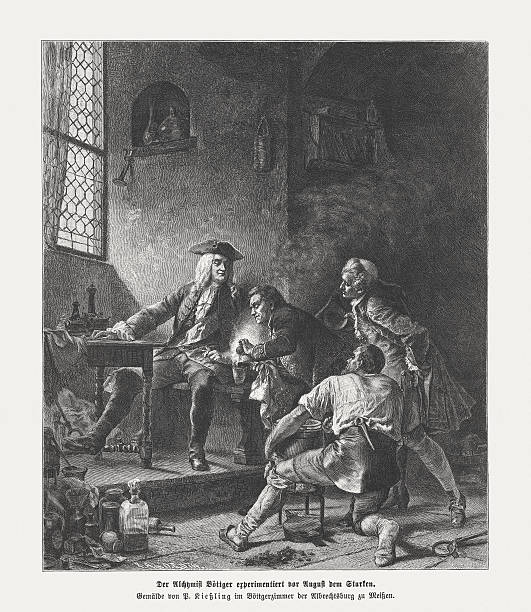 Boettger and August in Meissen, wood engraving, published in 1882 vector art illustration