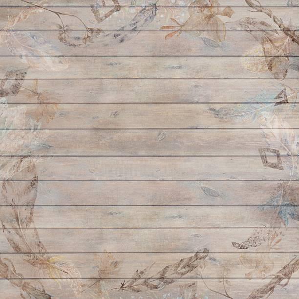 Boho Chic Fall Wood Background Vector Art Illustration