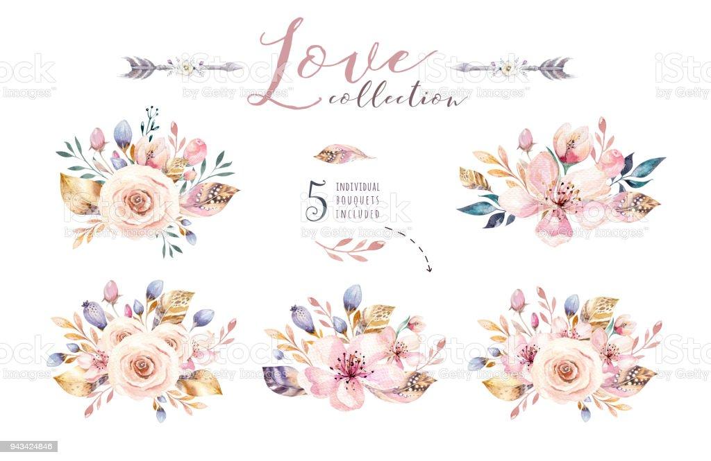Boho set vintage aquarel elementen van bloemen, bloem van tuin en wilde bloemen, bladeren, takken, illustratie geïsoleerd, vogels en veren, Boheemse boeketten en pijlenvectorkunst illustratie