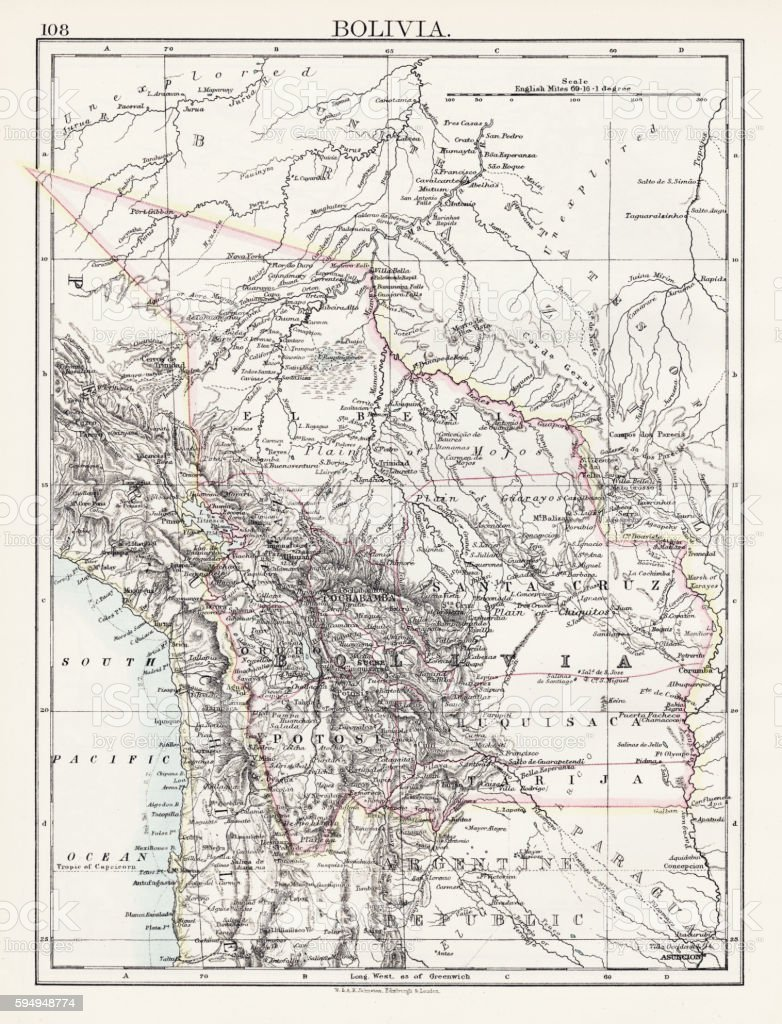 Bolivia map 1897 - ilustración de arte vectorial