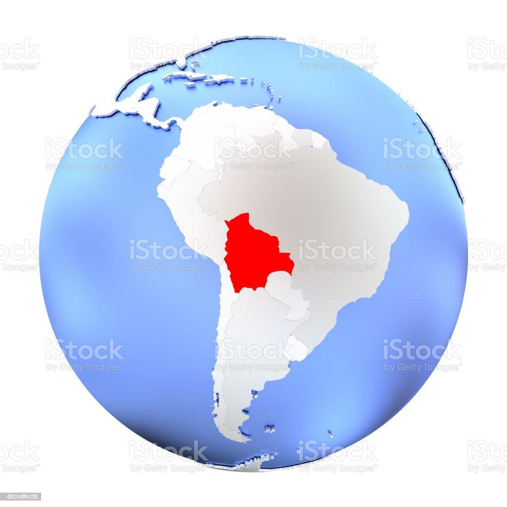 Bolivia on metallic globe isolated - ilustración de arte vectorial