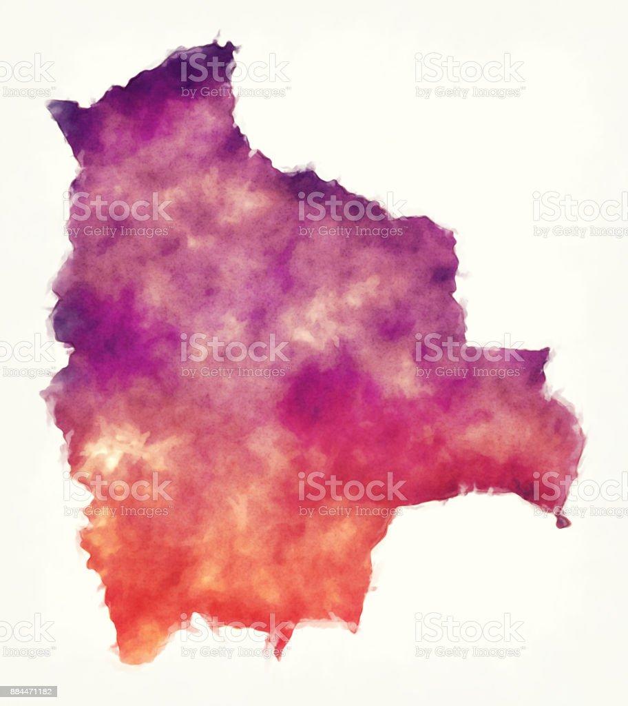 Mapa acuarela Bolivia delante de un fondo blanco - ilustración de arte vectorial