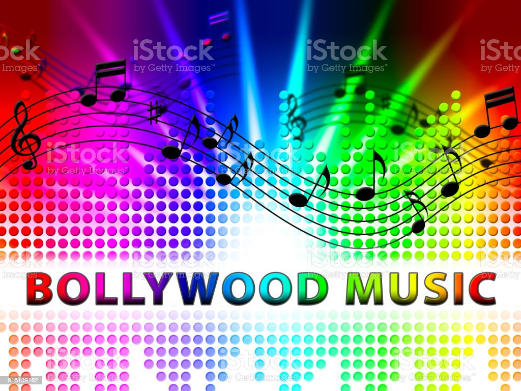 Bollywood Music Represents Movie Industry Songs And Audio vector art illustration