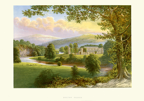 Vintage colour engraving of Bolton Abbey (also known as Bolton Priory). The monastery was originally founded at Embsay in 1120. Led by a prior, Bolton Abbey was technically a priory, despite its name. It was founded in 1154 by the Augustinian order, on the banks of the River Wharfe.