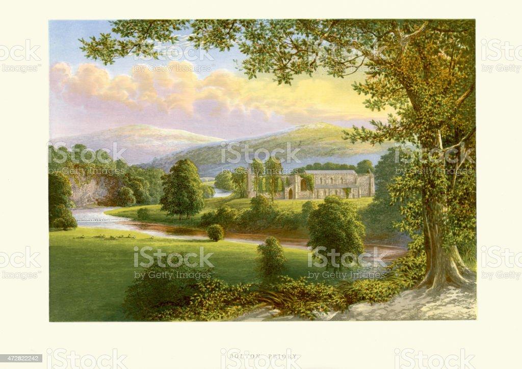 Bolton Abbey, Yorkshire, England vector art illustration
