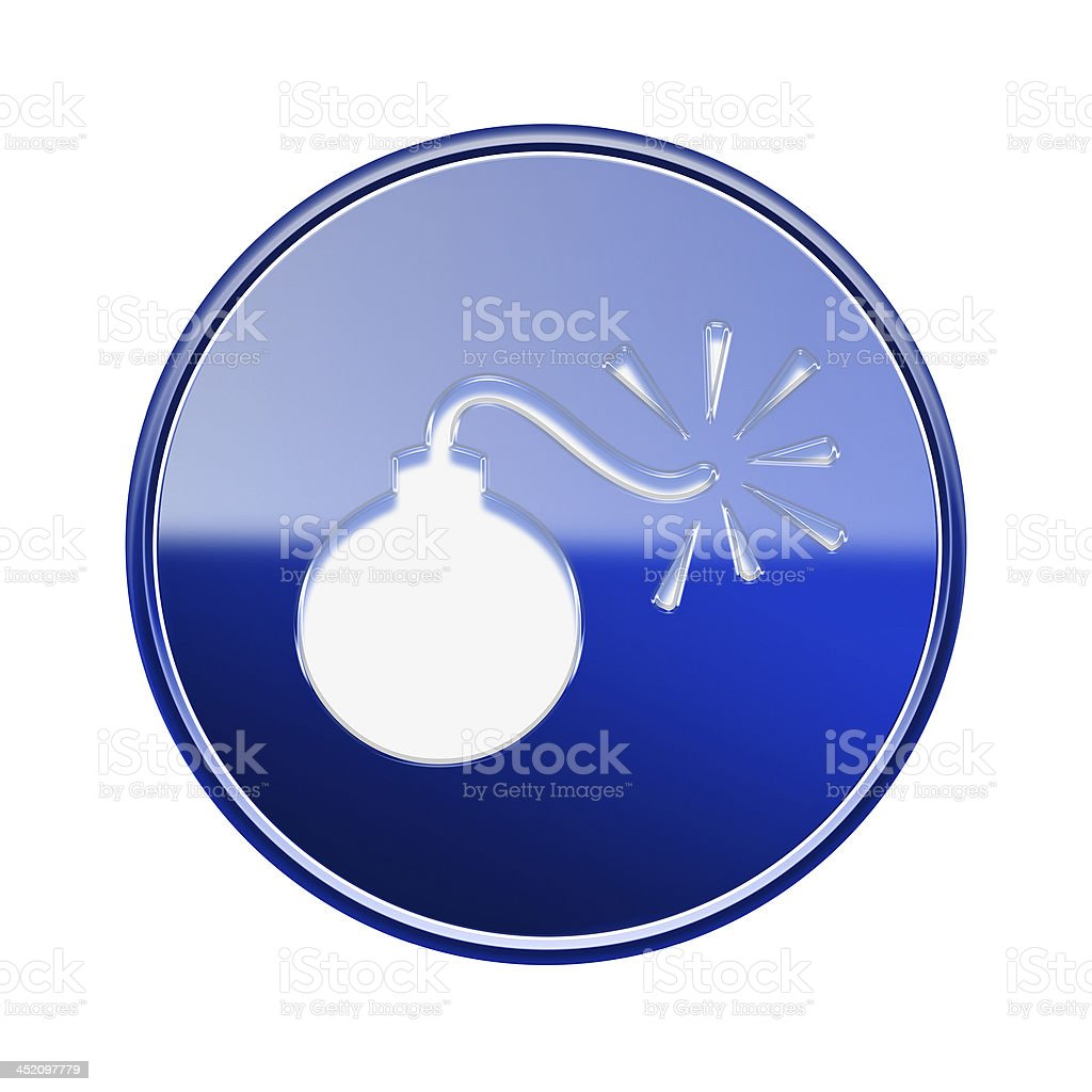 bomb icon glossy blue, isolated on white background royalty-free stock vector art