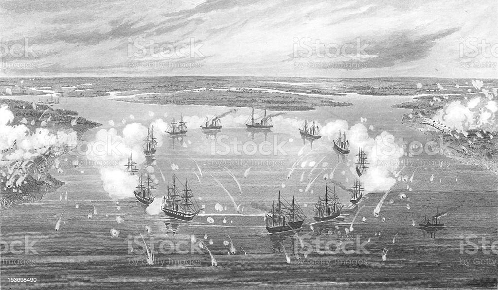 Bombardment Battle of Port Royal Engraving 1863 royalty-free bombardment battle of port royal engraving 1863 stock vector art & more images of 1863