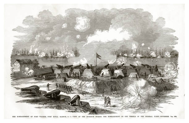 bombardment of fort walker, port royal harbor, by the vessels of the federal fleet, november 7, 1861 civil war engraving - confederate flag stock illustrations, clip art, cartoons, & icons