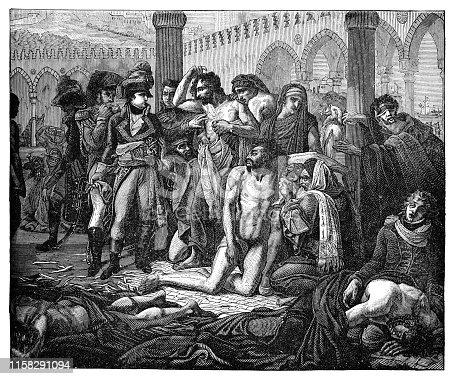 Bonaparte Visits the Plague Stricken in Jaffa (Bonaparte Visitant les Pestiferes de Jaffa) by Antoine-Jean Gros (circa 19th century). Vintage etching circa late 19th century.