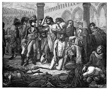 Bonaparte Visits the Plague Stricken in Jaffa by Antoine-Jean Gros - 19th Century