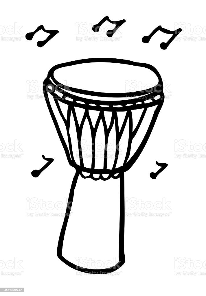 Bongo Drum Black And White Drawing Stock Vector Art & More Images of ...