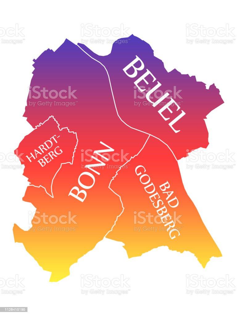 Carte Allemagne Bonn.Illustration De Couleur Arcenciel Marque Bonn Ville Carte