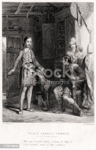 Vintage engraving showing Prince Charles Edward Stuart, also called The Young Pretender, The Young Chevalier, and Bonnie Prince Charlie (1720-88), claimant to the British throne who led the Scottish Highland army in the Forty-five Rebellion.   This scene shows him seeking refuge with a Scottish highlander family after his defeat at the Battle of Culloden in 1746. Engraving from 1845, Photo by D Walker