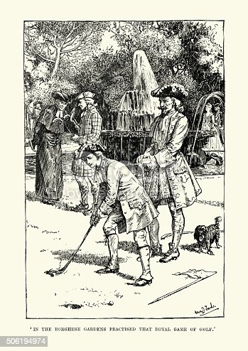 Vintage engraving of Bonnie Prince Charlie playing the royal game of golf in the Borghese Gardens.