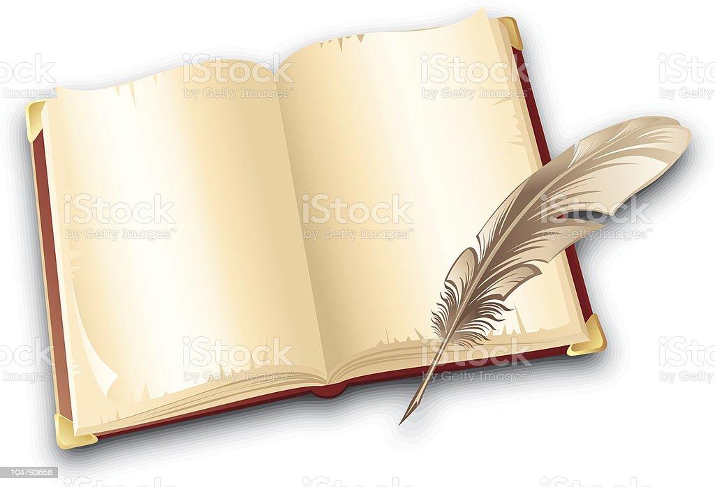 Buchen und Federn – Vektorgrafik