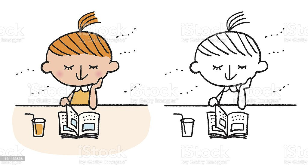 Book and girl royalty-free stock vector art