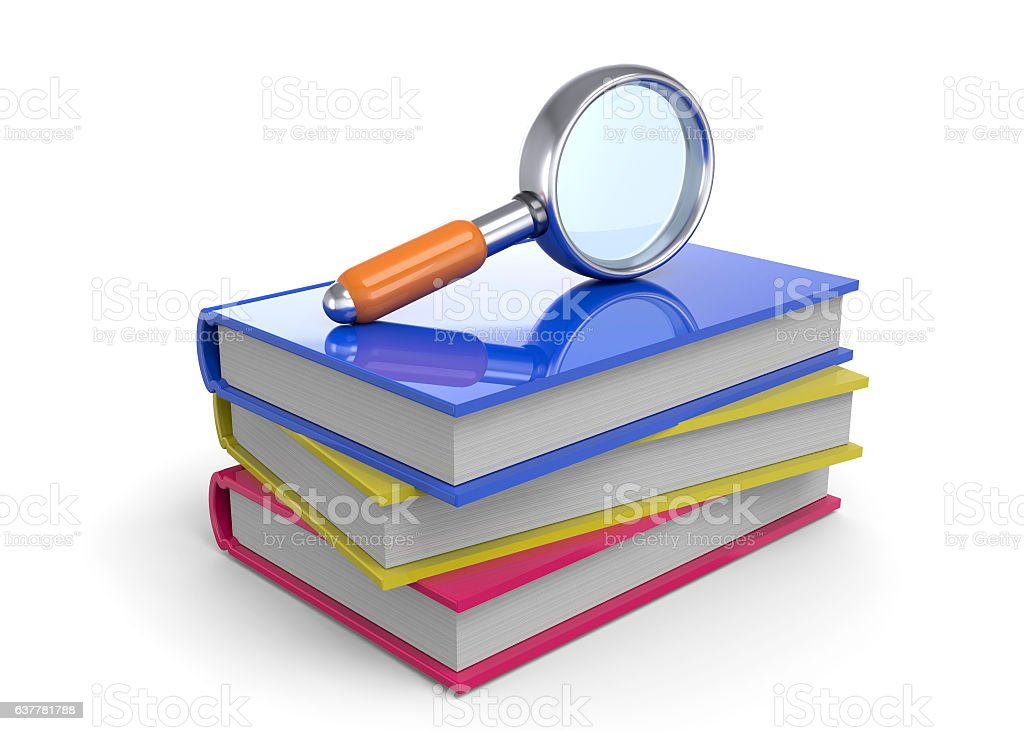 Book and Magnifier - 3D vector art illustration