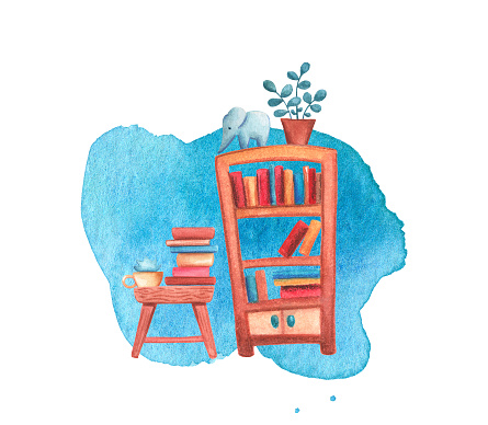 Book cabinet and table watercolor illustration on white background. Living room or library interior. Cozy home detail. Book shelf with flowerpot and elephant figurine. Book pile on table. Reading card