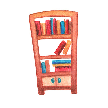 Book cabinet watercolor illustration on white background. Vintage bookshelf with book row and pile. Cozy home interior detail isolated. Children education concept. Reading clipart. Traditional library