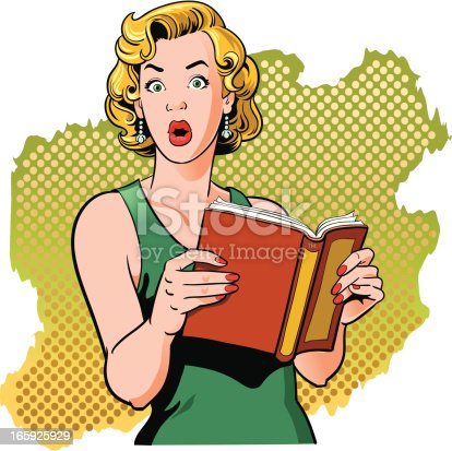 Illustration of a young beauty reading a book. What did she read that took her breath away The image of the woman can be isolated from the background if needed. High resolution JPG and Illustrator 8 EPS included.