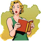 istock Book Reading Vintage Woman with Surprised Look 165925929