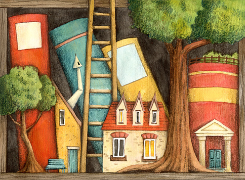 Book shelf with houses and trees.