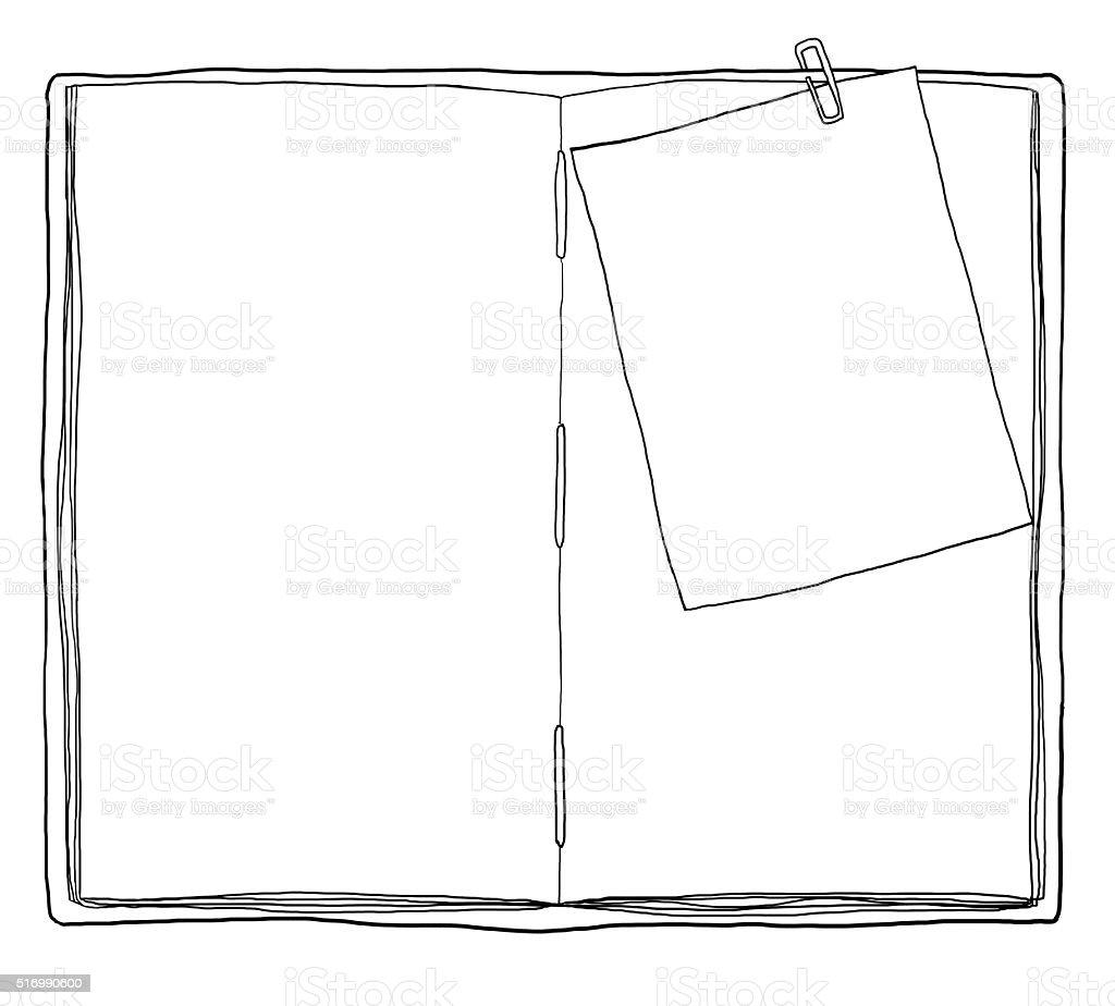 ブックのビンテージメモノート紙ラインにクリップアート背景
