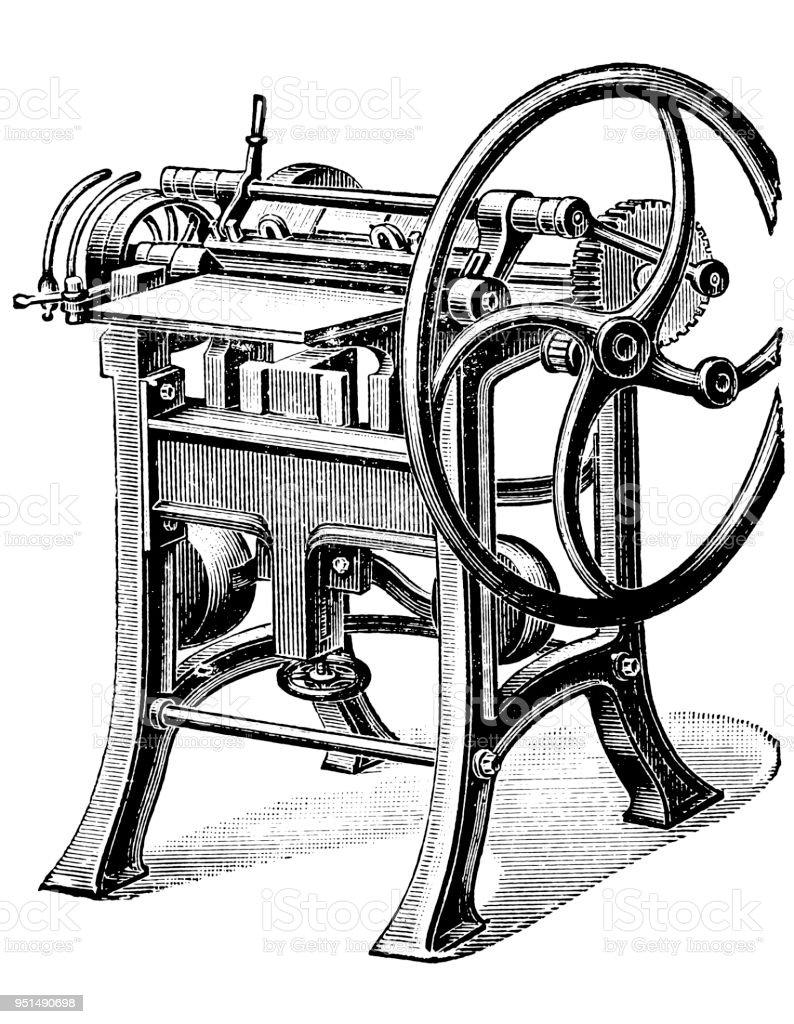 Bookbinding machines ,Bookcase spinning machine vector art illustration
