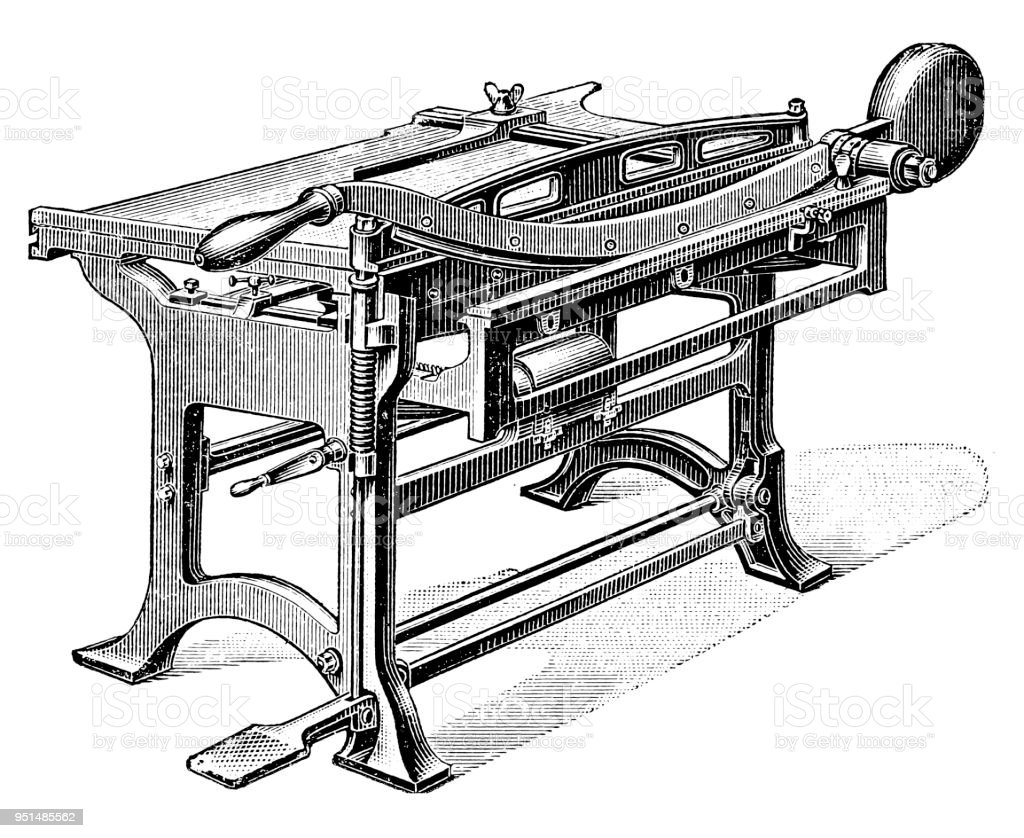Bookbinding machines ,Carton-paper cutter vector art illustration