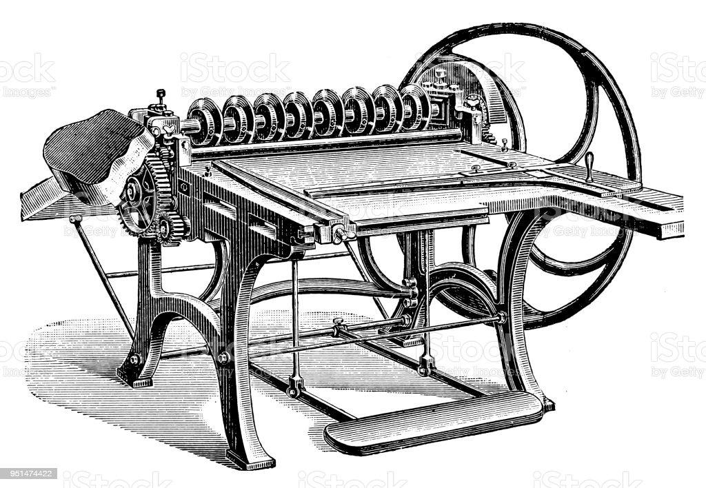 Bookbinding machines ,Carton-round scissors vector art illustration
