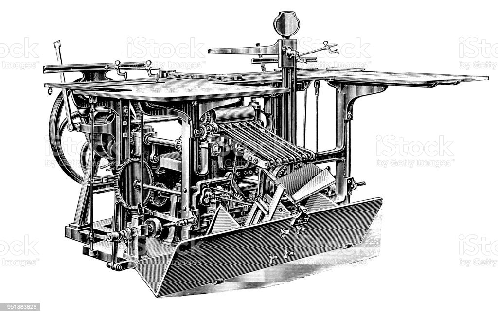 Bookbinding machines ,Double folding machine vector art illustration