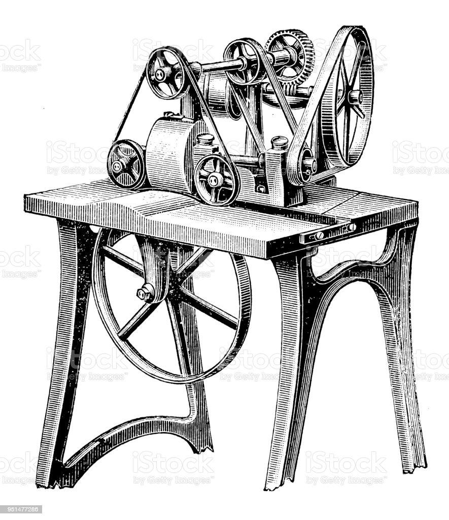 Bookbinding machines ,Leather hood maker vector art illustration