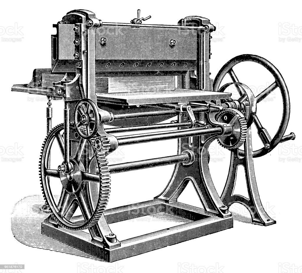 Bookbinding machines ,Paper Cutting Machine vector art illustration