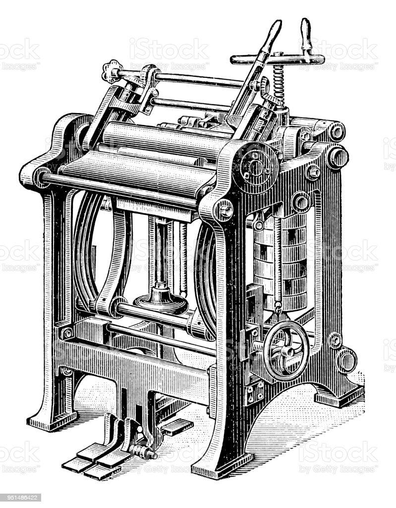Bookbinding machines ,Pinch-press vector art illustration