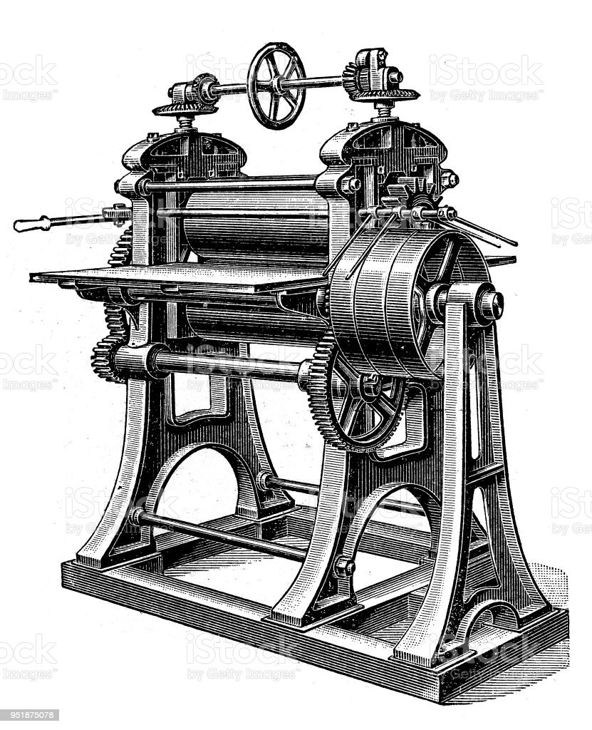 Bookbinding machines ,Rolling mill- machine for rolling paper into sheets. vector art illustration