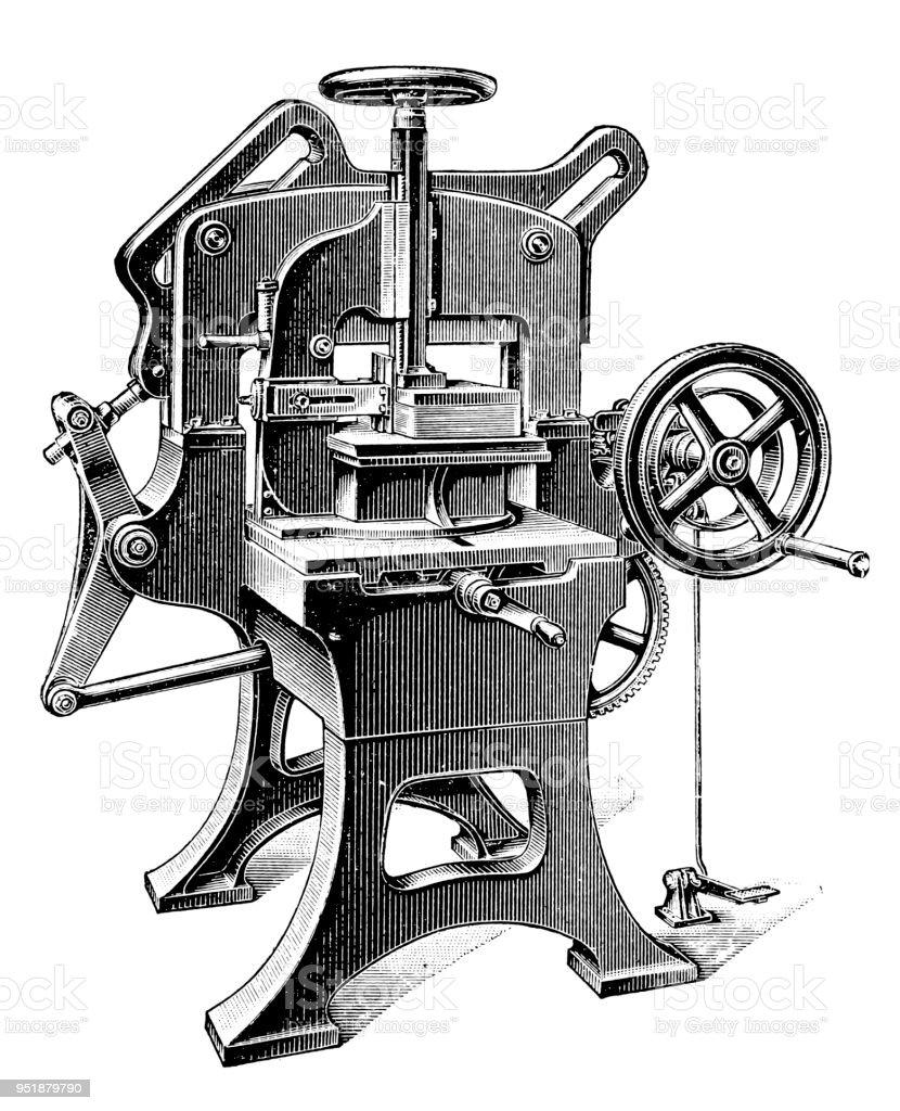 Bookbinding machines ,Three-sided cutting machine vector art illustration