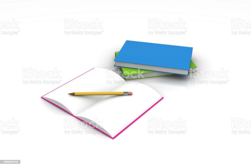 Bücher und Bleistift, Bildungskonzept Lizenzfreies bücher und bleistift bildungskonzept stock vektor art und mehr bilder von akademisches lernen