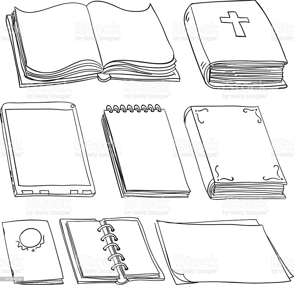 Books in black and white vector art illustration