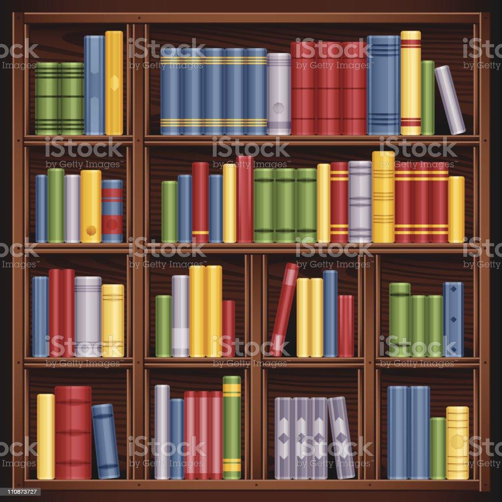 Books on Bookshelf vector art illustration