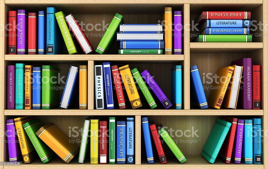 bookshelf and many books vector art illustration