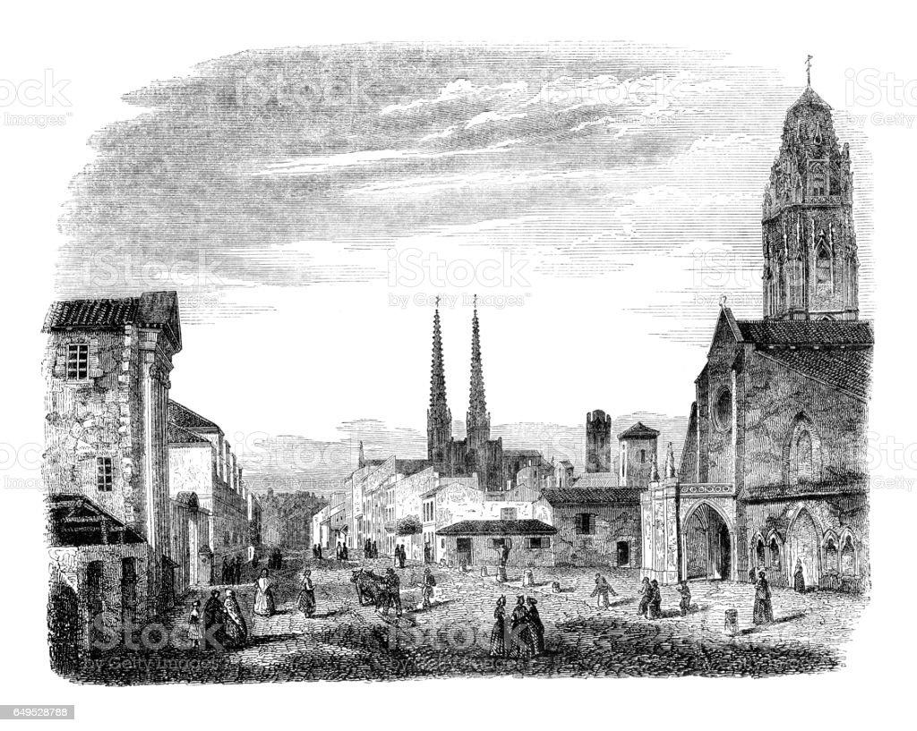 Illustration église France Bordeaux 1844 - Illustration vectorielle