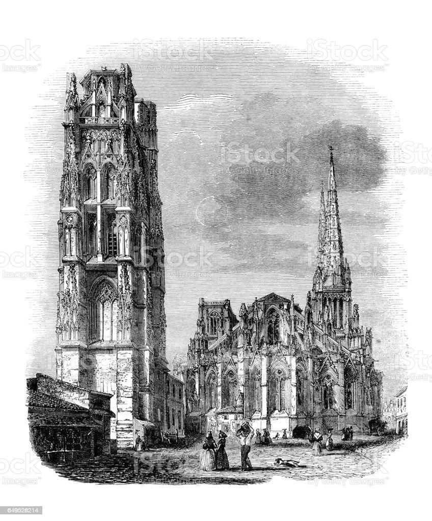 Bordeaux France Église de Saint André, 1844 - Illustration vectorielle