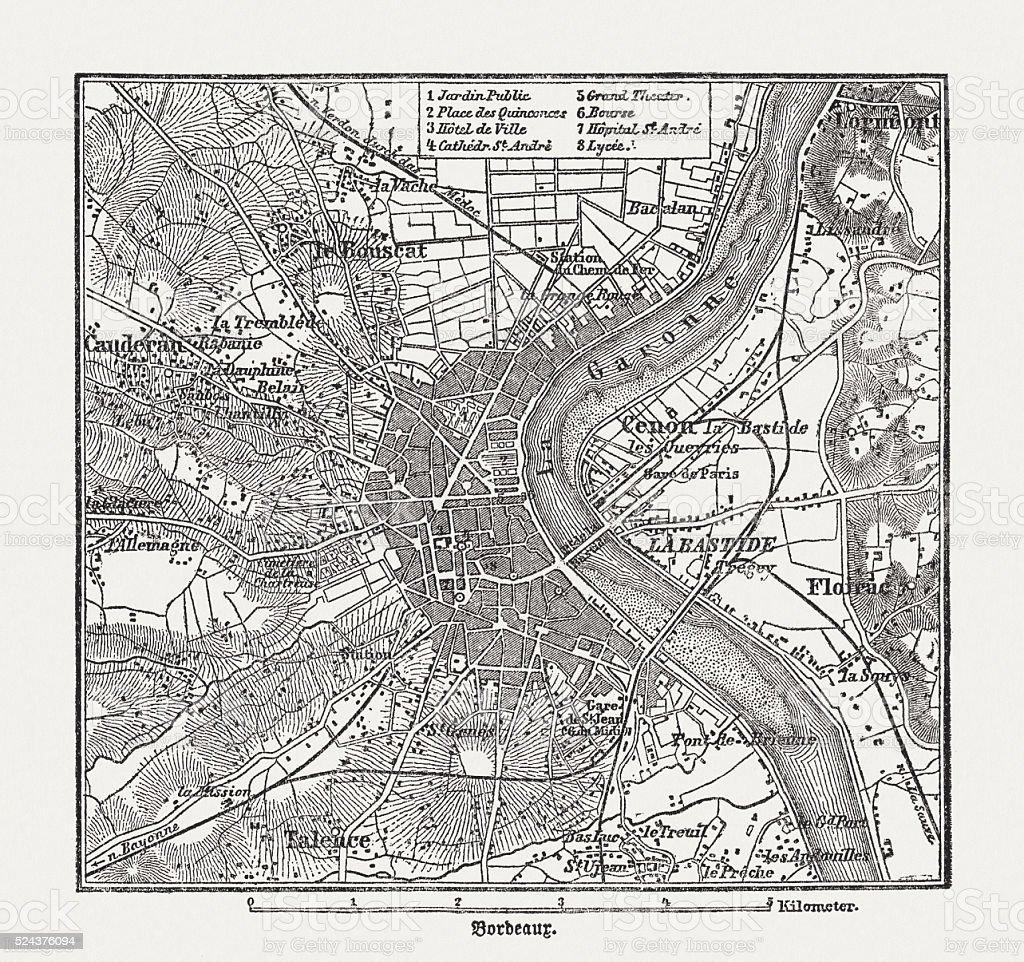 Bordeaux, France gravure en bois, publié en 1882 - Illustration vectorielle