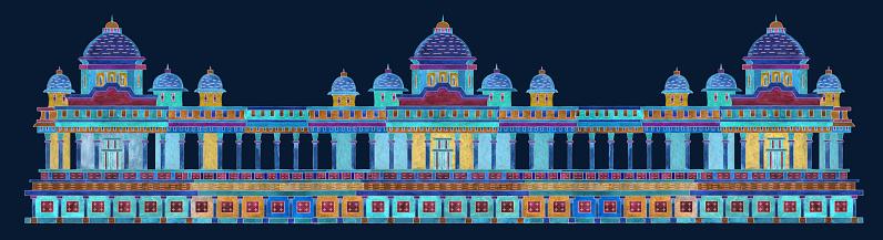 Border architecture pattern with fantasy ornate Indian antique temple on a dark indigo blue background. Watercolor painting on colorful thin line contour, T-shirt print, Batik paint, textile print